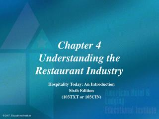 Chapter 4 Understanding the Restaurant Industry