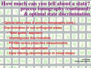 Optical-latice state & process tomography (cont.)  Discrimination of non-orthogonal states