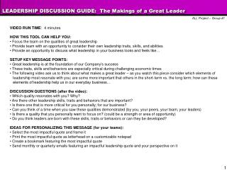 LEADERSHIP DISCUSSION GUIDE:  The Makings of a Great Leader
