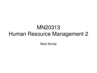 MN20313 Human Resource Management 2