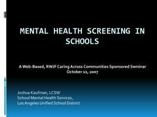 Mental Health Screening in Schools
