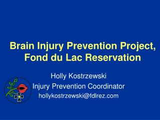 Brain Injury Prevention Project,  Fond du Lac Reservation
