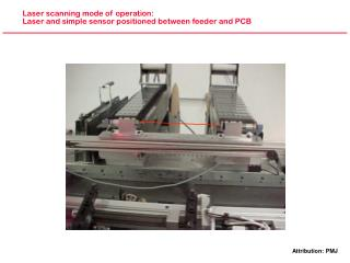 Laser scanning mode of operation: Laser and simple sensor positioned between feeder and PCB