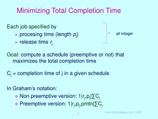 Minimizing Total Completion Time