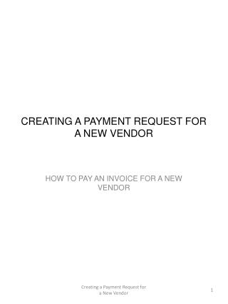 CREATING A PAYMENT REQUEST FOR A NEW VENDOR