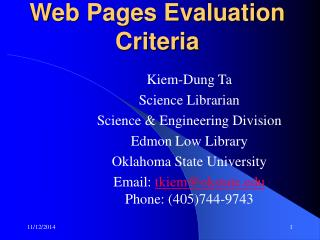Web Pages Evaluation Criteria