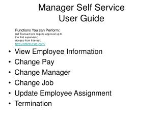 Manager Self Service User Guide