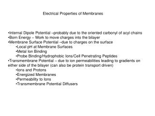 Electrical Properties of Membranes