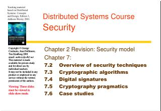 Distributed Systems Course Security