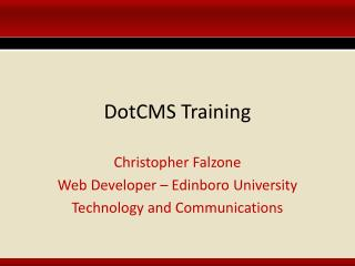DotCMS Training