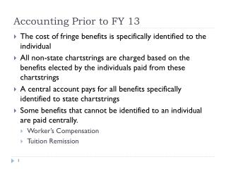 Accounting Prior to FY 13