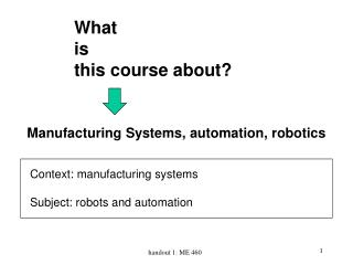 Manufacturing Systems, automation, robotics
