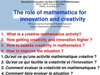 The role of mathematics for innovation and creativity