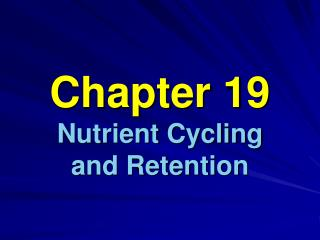 Chapter 19 Nutrient Cycling  and Retention