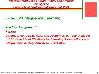 Lecture  24. Sequence Learning Reading Assignment: Reprint