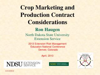 Crop Marketing and Production Contract Considerations