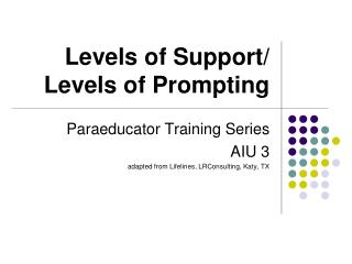 Levels of Support/ Levels of Prompting