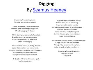 ppt digging by seamus heaney powerpoint presentation id  seamus heaney 1936