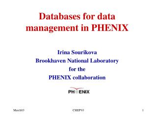 Databases for data management in PHENIX