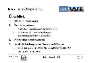 Überblick BIOS - Grundlagen Betriebssysteme Aufgabe, Grundlagen (Scheduling etc.)
