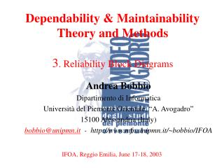 Dependability & Maintainability Theory and Methods  3 . Reliability Block Diagrams