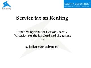 Service tax on Renting