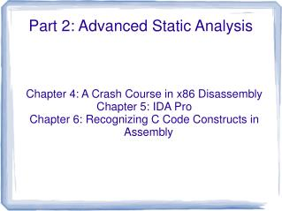 Part 2: Advanced Static Analysis