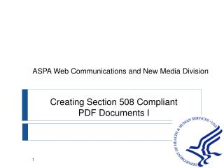 Creating Section 508 Compliant PDF Documents I