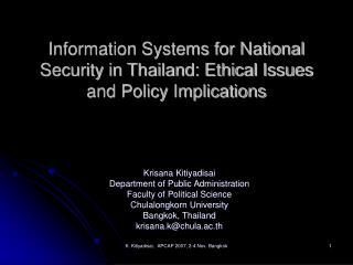 Information Systems for National Security in Thailand: Ethical Issues and Policy Implications