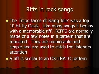 Riffs in rock songs