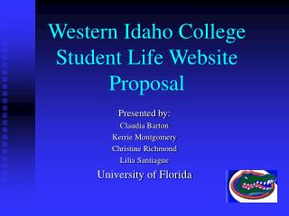 Western Idaho College Student Life Website Proposal