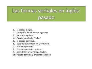Las formas verbales en inglés: pasado