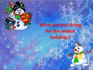 What are you doing for the winter holidays?