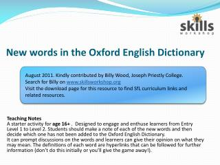 New words in the Oxford English Dictionary