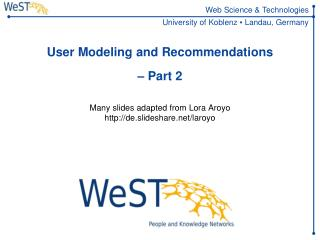 User Modeling and Recommendations – Part 2