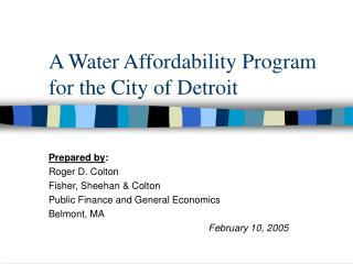 A Water Affordability Program for the City of Detroit