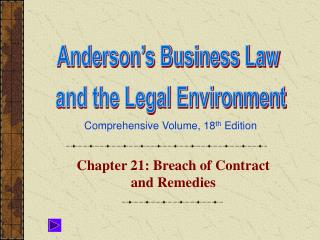 Chapter 21: Breach of Contract and Remedies