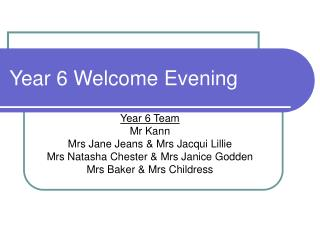 Year 6 Welcome Evening