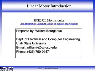 ECE5320 Mechatronics Assignment#01: Literature Survey on Sensors and Actuators