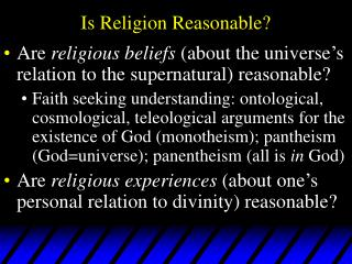 Is Religion Reasonable?