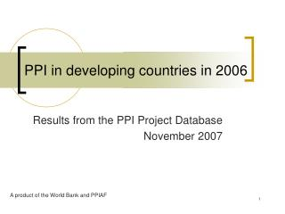 PPI in developing countries in 2006