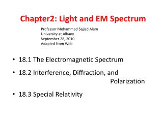 Chapter2: Light and EM Spectrum