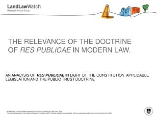 THE RELEVANCE OF THE DOCTRINE OF  RES PUBLICAE  IN MODERN LAW.