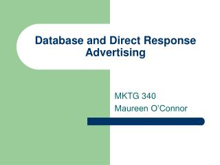 Database and Direct Response Advertising