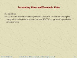 Accounting Value and Economic Value