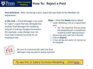 How To:  Reject a Pool