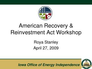American Recovery & Reinvestment Act Workshop