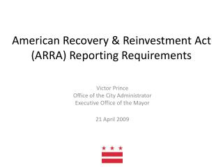 American Recovery & Reinvestment Act (ARRA) Reporting Requirements