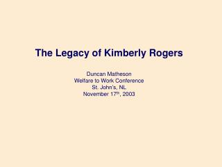 Chronology in the Case of Kimberly Rogers