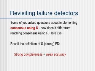 Revisiting failure detectors